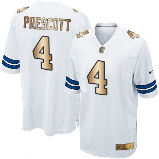 uk availability 42120 5ec2d Youth Nike Dallas Cowboys #4 Dak Prescott Elite White/Gold ...