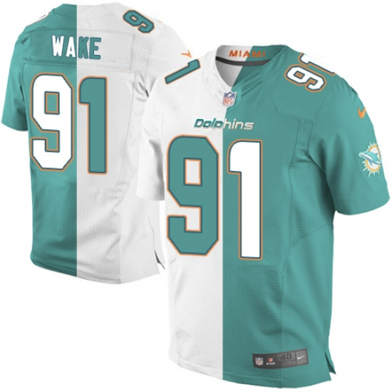 cheap for discount 6c912 c3cde Men's Nike Miami Dolphins #91 Cameron Wake Elite Aqua Green ...