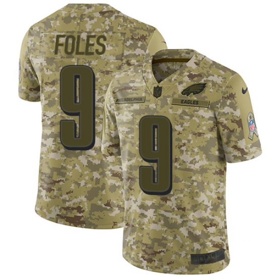 96bad6df4 Men s Nike Philadelphia Eagles  9 Nick Foles Limited Camo 2018 Salute to  Service NFL Jersey