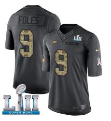 Youth Nike Philadelphia Eagles #9 Nick Foles Limited Black 2016 Salute to Service Super Bowl LII NFL Jersey