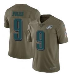 Youth Nike Philadelphia Eagles #9 Nick Foles Limited Olive 2017 Salute to Service NFL Jersey