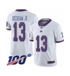 Men's New York Giants #13 Odell Beckham Jr Limited White Rush Vapor Untouchable 100th Season Football Jersey