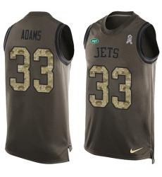 Men's Nike New York Jets #33 Jamal Adams Limited Green Salute to Service Tank Top NFL Jersey