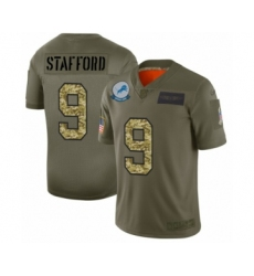 Men's Detroit Lions #9 Matthew Stafford 2019 Olive Camo Salute to Service Limited Jersey