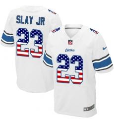 Men's Nike Detroit Lions #23 Darius Slay Elite White Road USA Flag Fashion NFL Jersey