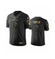 Men's Baltimore Ravens #9 Justin Tucker Limited Black Golden Edition Football Jersey