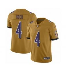 Youth Baltimore Ravens #4 Sam Koch Limited Gold Inverted Legend Football Jersey