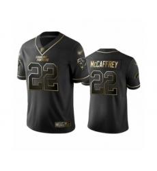 Men's Carolina Panthers #22 Christian McCaffrey Limited Black Golden Edition Football Jersey
