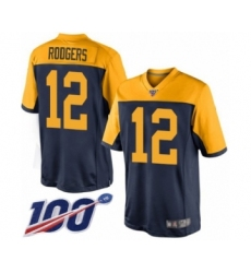 Men's Green Bay Packers #12 Aaron Rodgers Limited Navy Blue Alternate 100th Season Football Jersey