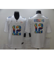 Men's Green Bay Packers #12 Aaron Rodgers White Rainbow Version Nike Limited Jersey