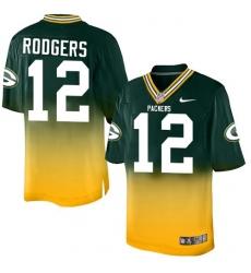 Men's Nike Green Bay Packers #12 Aaron Rodgers Elite Green/Gold Fadeaway NFL Jersey