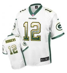 Men's Nike Green Bay Packers #12 Aaron Rodgers Elite White Drift Fashion NFL Jersey
