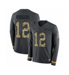 Men's Nike Green Bay Packers #12 Aaron Rodgers Limited Black Salute to Service Therma Long Sleeve NFL Jersey