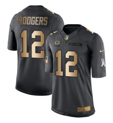 Men's Nike Green Bay Packers #12 Aaron Rodgers Limited Black/Gold Salute to Service NFL Jersey