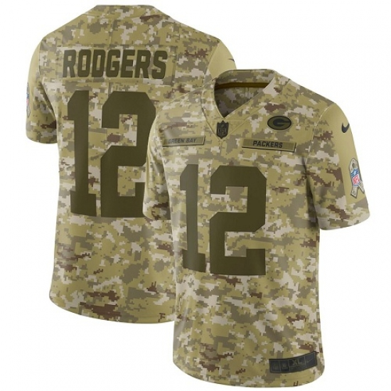 9b4a812aa Men s Nike Green Bay Packers  12 Aaron Rodgers Limited Camo 2018 Salute to  Service NFL