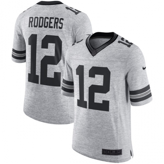 Men s Nike Green Bay Packers  12 Aaron Rodgers Limited Gray Gridiron II NFL  Jersey 1bc6b250c