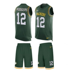 Men's Nike Green Bay Packers #12 Aaron Rodgers Limited Green Tank Top Suit NFL Jersey