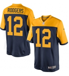 Men's Nike Green Bay Packers #12 Aaron Rodgers Limited Navy Blue Alternate NFL Jersey