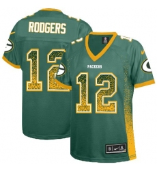 Women's Nike Green Bay Packers #12 Aaron Rodgers Elite Green Drift Fashion NFL Jersey
