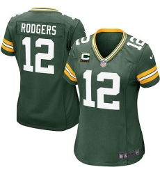 Women's Nike Green Bay Packers #12 Aaron Rodgers Elite Green Team Color C Patch NFL Jersey