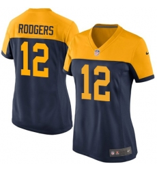 Women's Nike Green Bay Packers #12 Aaron Rodgers Game Navy Blue Alternate NFL Jersey