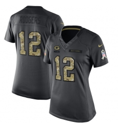 Women's Nike Green Bay Packers #12 Aaron Rodgers Limited Black 2016 Salute to Service NFL Jersey