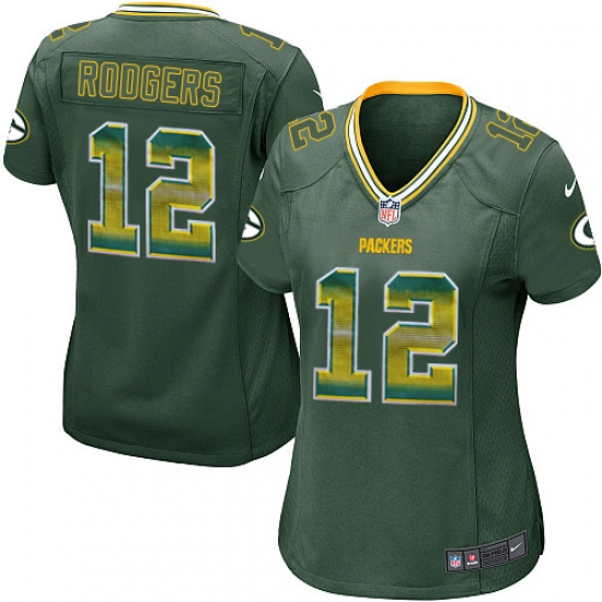 Women s Nike Green Bay Packers  12 Aaron Rodgers Limited Green Strobe NFL  Jersey b6597fca3