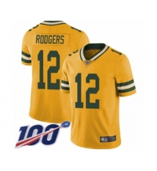 Youth Green Bay Packers #12 Aaron Rodgers Limited Gold Rush Vapor Untouchable 100th Season Football Jersey