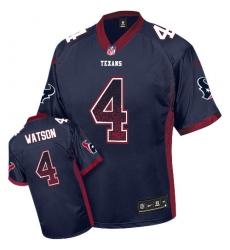 Men's Nike Houston Texans #4 Deshaun Watson Elite Navy Blue Drift Fashion NFL Jersey
