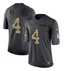 Men's Nike Houston Texans #4 Deshaun Watson Limited Black 2016 Salute to Service NFL Jersey