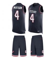 Men's Nike Houston Texans #4 Deshaun Watson Limited Navy Blue Tank Top Suit NFL Jersey
