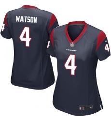 Women's Nike Houston Texans #4 Deshaun Watson Game Navy Blue Team Color NFL Jersey