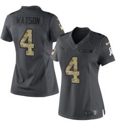 Women's Nike Houston Texans #4 Deshaun Watson Limited Black 2016 Salute to Service NFL Jersey