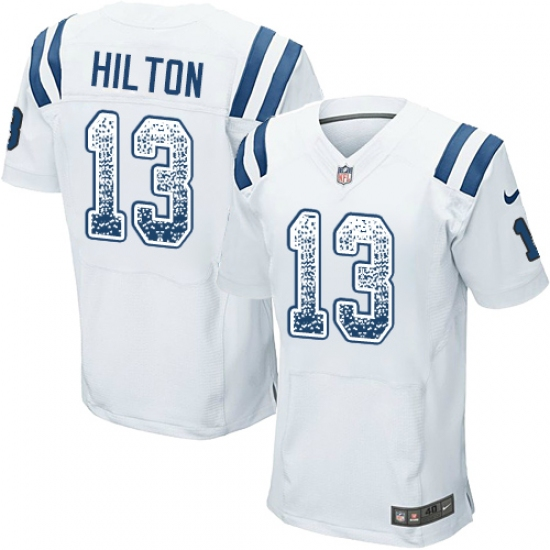 dce76535e Men s Nike Indianapolis Colts  13 T.Y. Hilton Elite White Road Drift  Fashion NFL Jersey