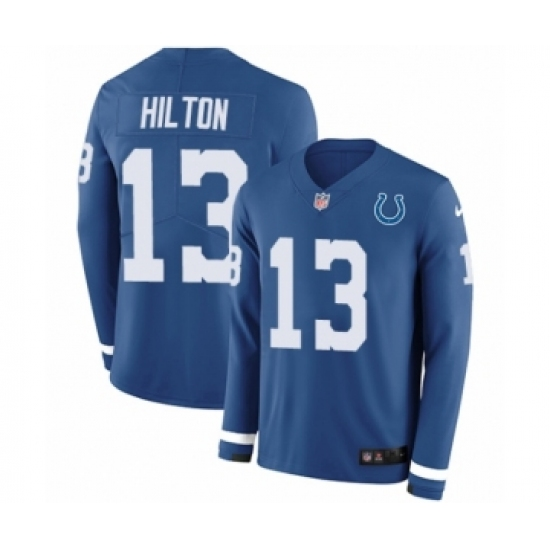 Youth Nike Indianapolis Colts  13 T.Y. Hilton Limited Blue Therma Long  Sleeve NFL Jersey f185fe239