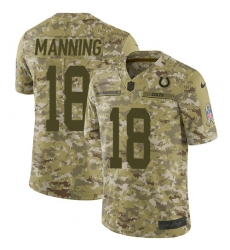 Men's Nike Indianapolis Colts #18 Peyton Manning Limited Camo 2018 Salute to Service NFL Jersey
