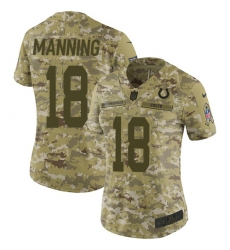 Women's Nike Indianapolis Colts #18 Peyton Manning Limited Camo 2018 Salute to Service NFL Jersey