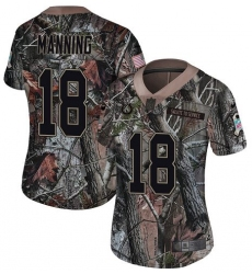 Women's Nike Indianapolis Colts #18 Peyton Manning Limited Camo Rush Realtree NFL Jersey