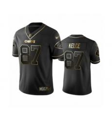 Men's Kansas City Chiefs #87 Travis Kelce Limited Black Golden Edition Football Jersey