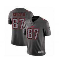 Men's Kansas City Chiefs #87 Travis Kelce Limited Gray Static Fashion Football Jersey