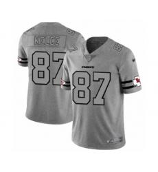 Men's Kansas City Chiefs #87 Travis Kelce Limited Gray Team Logo Gridiron Football Jersey