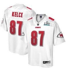 Men's Kansas City Chiefs #87 Travis Kelce NFL Pro Line White Super Bowl LIV Champions Jersey