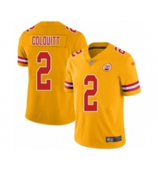 Women's Kansas City Chiefs #2 Dustin Colquitt Limited Gold Inverted Legend Football Jersey
